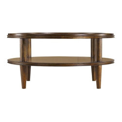 Stanley Furniture - Archipelago-Calypso Round Cocktail Table - Calypso Round Cocktail Table celebrates the beautiful infinity of the circle. Semi-circles in walnut burl ring the table to dramatic effect. A tempered glass top suspends over a fixed shelf below, also patterned. So striking you almost forget how useful it is.