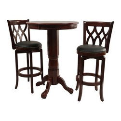 Boraam Cathedral 3 Piece Pub Table Set - Dark Cherry - Get ready to unwind; take your seat at the Boraam Cathedral 3 Piece Pub Table Set - Dark Cherry. Durably constructed this modern pub table set includes a finely crafted round table with an eco-friendly sturdy rubberwood build. Finished in dark cherry the chairs feature sculpted cathedral seat backs and padded black faux-leather seats. The chairs also feature steel ball bearing swivels for ultra durability and full ring footrests for added strength. About Boraam IndustriesThis product is manufactured by Boraam Industries. With many years of experience in the furniture industry Boraam is committed to providing well-styled top-quality home furnishings and furniture at reasonable prices. Based in Mundelein Ill. Boraam has its own tropical hardwood production facilities in and outside the USA.