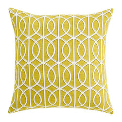 Dwell Studio - Dwell Studio Gate Citrine Pillow - The perfect accessory to any room, our pillow collection adds striking colors and pattern to complement your home. Throw pillow components: Linen/Cotton Blend. Down feather insert included. Hidden zipper closure.