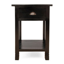 Urban Homre Polo Side Table - Made of Solid Teak Finished in Black. Features one drawer with brass decorative hardware and one shelf.