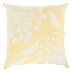 Surya - Surya Pillow, Down Feather Filler - Multidimensional and varied floral design will create a truly natural, yet intricate look for your space with this exquisite pillow by designer Kate Spain. Featuring a series of flower prints placed perfectly atop a vibrant canvas, this piece will radiate charm and trend in your space, fashioning a piece that will remain timelessly unique in any room. This pillow contains a zipper closure and provides a reliable and affordable solution to updating your home's decor. Genuinely faultless in aspects of construction and style, this piece embodies impeccable artistry while maintaining principles of affordability and durable design, making it the ideal accent for your decor.