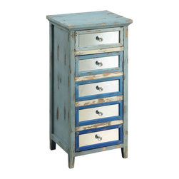 None - Creek Classics Dez One Drawer One Door Cabinet - This cabinet is very unique and charming and will keep you guessing with unexpected details. The aged and distressed Dez Blue Palette Rub-through finish combines many blue tones and is paired with mirrored accents.