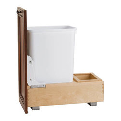 "Rev-A-Shelf - Rev-A-Shelf 4WC-15DM1 Single 35 Qt. Bottom Mount Pullout Waste Container - White - This Bottom Mount Pullout Waste Container features a maple constructed full extension pullout base, with a clear finish. The durable and strong maple structure comes assembled and ready-to-install. A single white 35 quart waste container and door mounting brackets are included, making the Rev-A-Shelf 4WC-15DM1 a great addition to your kitchen. Size Specifications: 11-1/4"" W x 21-3/4"" D x 19-1/4"" H. Please make sure that your cabinet has a minimum opening of at least 11-3/4"" W x 21-3/4"" D x 19-3/8"" H to ensure a proper fit."