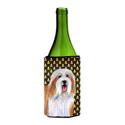 Caroline's Treasures - Bearded Collie Candy Corn Halloween Portrait Wine Bottle Koozie Hugger - Bearded Collie Candy Corn Halloween Portrait Wine Bottle Koozie Hugger Fits 750 ml. wine or other beverage bottles. Fits 24 oz. cans or pint bottles. Great collapsible koozie for large cans of beer, Energy Drinks or large Iced Tea beverages. Great to keep track of your beverage and add a bit of flair to a gathering. Wash the hugger in your washing machine. Design will not come off.