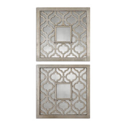 Uttermost - Sorbolo Squares Decorative Mirror Set of 2 - Frames feature a decorative design finished in antiqued silver leaf with black undertones and antiqued mirrors.