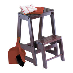 Winsome Wood - Winsome Wood Step Stool - Double - Solid wood construction step stool. Sturdy stools for reaching higher place. The lower step piece stores up when not in use. Step Stool (1)