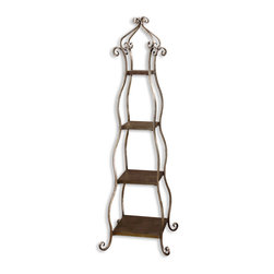 Uttermost - Uttermost 26118 Lilah Burnished Silver Leaf Etagere - Uttermost 26118 Lilah Burnished Silver Leaf Etagere