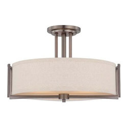 Nuvo Lighting - Nuvo Lighting 60/4858 Gemini Three Light Semi-Flush Ceiling Fixture - Nuvo Lighting 60/4858 Gemini Three Light Semi-Flush Ceiling Fixture with Khaki Fabric Shade, in Hazel Bronze FinishGemini is a relaxed, contemporary collection which utilizes basic geometric design elements to achieve form and balance. Offered in Brushed Nickel with Slate Gray oval fabric shades and Hazel Bronze with oval Khaki shades.Nuvo Lighting 60/4858 Features:
