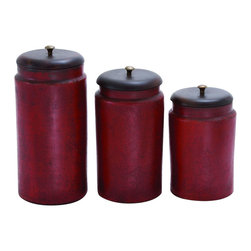 Benzara - Simple Tera Cotta Jar No-Frill in Rusty Red Finish - Set of 3 - Enhance your home and garden with a hint of elegance with this set of three Terracotta jars. Featuring a simplistic design, these Terracotta jars sport a ferocious red shade with a smudged design to add chic style. Available in different sizes, this set of Terracotta jars are embellished with golden color knobs for easy handling and daintiness. Use these jars to simply enhance the overall appearance of your home and garden or use it for its practicality, no matter how you decide to use them, these jars will blend in with any and all kinds of surroundings. With a rugged look, these jars look all the more charming and rustic. It is available in 3 size variants - 9 in.  H x 6 in.  W x 6 in.  D, 11 in.  H x 6 in.  W x 6 in.  D, 13 in.  H x 6 in.  W x 6 in.  D.