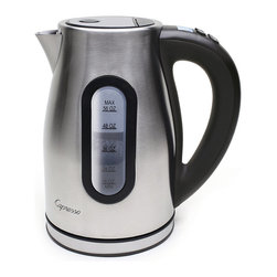Frontgate - Capresso H20 Pro Water Kettle - Programmable boiling duration from 3 to 20 seconds. 56 oz. capacity. Variable temperature control with 11 settings from 110°F to 212°F. Maintains warm temperature from 110°F to 190°F for up to 40 minutes. Illuminated blue backlit LCD panel displays the temperature and is easy to program. The Capresso H2O Pro Water Kettle is programmable and cordless, and it also heats water faster, making it safer and more energy efficient than any stovetop kettle. Effortless and precise digital temperature controls make this kettle the top choice for the tea lover. H2O Pro allows you to program the precise water temperature for a variety of teas, from white and green, to black, herbal, and rooibos.. . Variable temperature control with 11 settings from 110 degreesF to 212 degreesF. Maintains warm temperature from 110 degreesF to 190 degreesF for up to 40 minutes. . Brushed stainless steel housing. UL Listed. One-year limited manufacturer's warranty for household use.