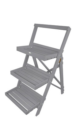 Esschert Design - Step Ladder Plant Stand, Grey - This plant stand will perfectly display  all of your plants and flowers. Makes any garden appealing with a country cottage setting.