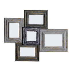 PANCA Multi-mirror frame, 5 mirrors-in-one, wall mount - Mirrors do not have to be square! This multifaceted mirror proves that you can have a mirror looking fresh and unique. Antiqued, washed muted colors.