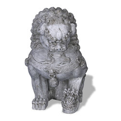 Amedeo Design, LLC - USA - Foo Dog Statue - Left Facing - Our Foo Dog Statue comes from classic chinese designs. Large yet lightweight, this piece can be moved by one person to any location easily. Our products are made of lightweight weatherproof ResinStone. So authentic, you actually have to lift them to convince yourself they're not stone at all! Made in USA.