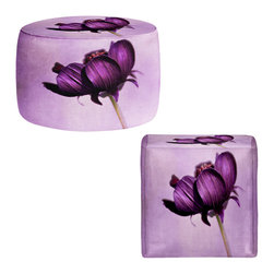 DiaNoche Designs - Ottoman Foot Stool by Iris Lehnhardt - Purple Blossoms - Lightweight, artistic, bean bag style Ottomans. You now have a unique place to rest your legs or tush after a long day, on this firm, artistic furtniture!  Artist print on all sides. Dye Sublimation printing adheres the ink to the material for long life and durability.  Machine Washable on cold.  Product may vary slightly from image.