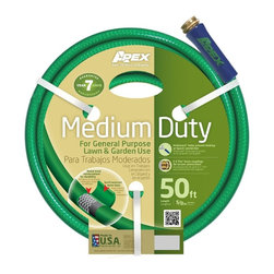 Apex Medium Duty Garden Hose, 5/8X50' - For general purpose lawn and garden use. Radial braid reinforcement for durability. Scuff resistant outer layer. Kink Guard helps prevent kinking at faucet connection. E-Z Tite Brass couplings for secure connections.