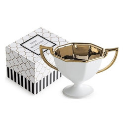 Home Decorators Collection - Luxe Moderne Trophy Bowl - Crafted of porcelain and plated with gold, our Luxe Moderne Trophy Bowl decorates your dining table with sophistication. Use as a salad bowl or fruit bowl to serve guests. This bowl is available in three different sizes and coordinates with other pieces in our Luxe Moderne Collection. White porcelain bowl with interior and handle gold plating. Not for microwave use. Includes gift box.