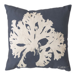 """Surya - Coral Square Decorative Pillow RG-054 - 20"""" x 20"""" - Enjoy a tranquil reminder of the beach in your space with this cool coral pillow. Featuring a bold beige coral design splashed pristinely against a nautical navy backdrop, this piece is sure to spice up your space. This pillow contains a Virgin Poly Styrene Bead fill providing a reliable and affordable solution to updating your indoor or outdoor decor."""