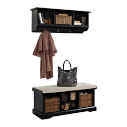 Crosley - Brennan 2-Piece Entryway Bench and Shelf Set, Black - Organize your entryway with a sophisticated bench set that's built to last. This cubby bench has several slots for storing shoes and other small items, and also makes for a comfortable seat. Included baskets allow for storage of scarves, gloves, and hats while adding a beautiful touch to your entryway. The matching wall unit features open shelves for storing hats and the like. Four hooks are perfect for hanging a family of coats and jackets.