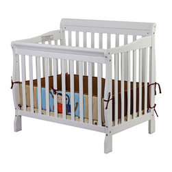 Dream On Me - Aden Mini Convertible Crib - The Dream On Me Aden Convertible 3 in 1 Mini crib is a beautifully designed crib that gracefully matures with your child from infancy, through childhood to adulthood. With its robust good looks and solid frame this crib features a stationary ( non drop side) rail design which provides the utmost in product safety. For ease in reaching your baby, it sits low to the floor and features the convenience of a 3 position, adjustable mattress support system. Stylish and sturdy, this lovely piece of nursery furniture grows with your child transitioning easily into a toddler daybed, and twin size bed(twin size bed frame and twin mattress not included). Coordinates with the Dream on Me Marcus Changing Table and Dresser. Accommodates a Dream On Me portable crib mattress measuring 38''x24'' sold separately. Features: -3 Position, adjustable mattress support system.-Non drop side.-Sits low to the floor.-Frame sold separately.-Lead free nontoxic finish.-Distressed: No.Dimensions: -36'' H x 23'' W x 39'' D, 20 lbs.-Overall Product Weight: 20 lbs.