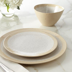 "Horchow - 12-Piece ""Speckled"" Dinnerware Service - Two-toned dinnerware features a lightly speckled finish for a look that is perfect for casual dining yet tailored enough for more formal settings. Made of stoneware. Hand painted. Dishwasher, microwave, and oven safe. 12-piece service includes four...."
