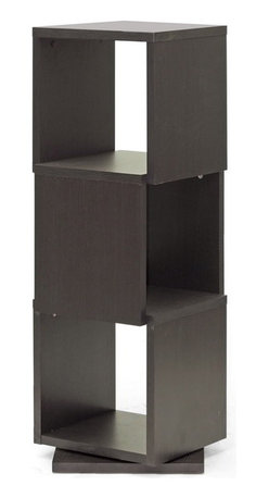 Baxton Studio - Baxton Studio Ogden Dark Brown 3-Level Rotating Modern Bookshelf - With 360 degree swivel and three shelves, the Ogden Designer Bookshelf makes it easy to find the tome you're looking for. Equally fitting for photos and other home decor, this contemporary display shelf is made in Malaysia with dark brown faux wood grain paper veneer over a frame of engineered wood. The Ogden Contemporary Bookshelf requires assembly and is easily cleaned with the swipe of a dry cloth. also available are 2, 4, and 5-level options of the Ogden Bookshelf (each sold separately).