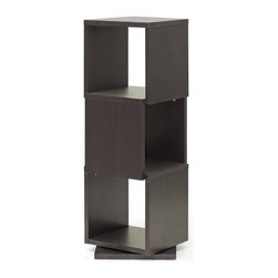 "Baxton Studio - Baxton Studio Ogden Dark Brown 3-Level Rotating Modern Bookshelf - With 360 degree swivel and three shelves, the Ogden Designer Bookshelf makes it easy to find the tome you're looking for. Equally fitting for photos and other home decor, this contemporary display shelf is made in Malaysia with dark brown faux wood grain paper veneer over a frame of engineered wood. The Ogden Contemporary Bookshelf requires assembly and is easily cleaned with the swipe of a dry cloth. Also available are 2, 4, and 5-level options of the Ogden Bookshelf (each sold separately). Product dimension: 15.81""W x 15.81""D x 46""H, shelf(3): 13.81""Wx 13.81""D x 13.5""H"