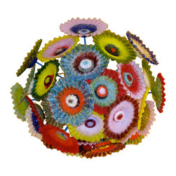 "Primo Glass - Blown Glass Chandelier - Multi Color Chandelier - Flower Light - Chandelier - Please note that this sale is for a custom one of a kind "" to be built "" Chandelier that will have slight differences from the chandelier shown in the listing photos, and has a lead time of aprox 3 weeks. This beautiful chandelier was created by Primo Glass and handcrafted in the USA. The dimensions of the chandelier itself are aprox 38 inches wide x 18 inches tall. It hangs from a natural copper down rod. The total height of the chandelier with the copper down rod is 48 inches, but we can make adjustments to the height of the down rod to suit your needs before shipping. The lighting source consists of 8 standard medium base ( 100 watt max ) light sockets. The chandelier will include 60 watt dimmable LED light bulbs that will last 20k hours or longer. All electrical components are UL listed. As with all of our custom work, this chandelier will include a large custom made matching glass ceiling medallion. Primo Glass chandeliers are high quality collectible works of functional art, signed by the artists, and include a certificate of authenticity."