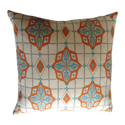 Tangerine + Aqua Medallion Pillow Cover - Tangerine + Aqua Medallion pattern with accents of grey on an off-white backgroundy
