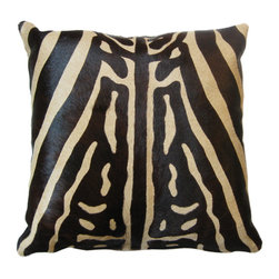 """Diseño Boston - Cowhide Pillow, Zebra Print - These just In! Ready to make a dramatic design statement on your sofa, chair, or bed? Try these beautiful zebra print pillows. They're soft, durable, and elegant in any room. In stock in 15"""" square."""