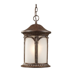 "z lite - Weathered Bronze And White Seedy Glass Exterior Hanging Light Fixture 11 x 8.75"" - Condition: New - in box"