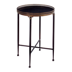 iMax - Round Black Accent Table - Traditional round black accent table made of cast metal and metal tubing.