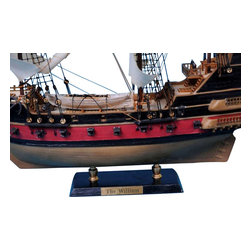 "Handcrafted Nautical Decor - Calico Jack's The William 24"" - White Sails - Sold fully assembled"