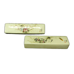 Golden Lotus - Chinese Pair Porcelain Flower Grasshopper Paperweight - This is a pair of traditional Chinese paperweight in rectangular shape made of porcelain.