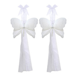 """Bugs-n-Blooms - Butterfly Tie Backs White Crystal Nylon Butterflies Tieback Pair Set Decorations - Window Curtains Holder Holders Tie Backs to Decorate for a Baby Nursery Bedroom, Girls Room Wall Decor - 5""""W x 4""""H Crystal Curtain Tieback Set Butterfly 2pc Pair - Beautiful window curtains tie backs for kids room decor, baby decoration, childrens decorations. Ideal for Baby Nursery Kids Bedroom Girls Room.  This gorgeous butterfly tieback set is embellished with sequins, glitter and has a beaded body.  This pretty butterfly decoration is made with a soft bendable wire frame & have color match trails of organza ribbons. Has 2 thick color matched organza ribbons to wrap around the curtains. Visit our store for more great items. Additional styles are available in various colors, please see store for details. Please visit our store on 'How To Hang' for tips and suggestions. Please note: Sizes are approximate and are handmade and variances may occur. Price is for one pair (2 piece)"""
