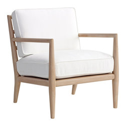 """Redford House - Redford House Edwin Chair - Sleek modernity marks the Redford House Edwin armchair's compelling design. A hardwood frame and clean lines juxtapose a plush seat cushion for contemporary lounging. 26""""W x 30.5""""D x 31""""H; Made from Pacific Northwest Alder wood; Shown in Cashew with white denim upholstery; COM fabric: 3 yards required; Available in several non-toxic finish and fabric options; Hand-finished; Color and texture may vary from piece to piece; Email shop@zincdoor.com for COM fabric details"""