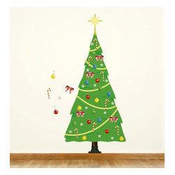 Design Your Wall - Playful Christmas Tree - Christmas Wall Decal - Now enjoy Christmas in an entirely new way. You can endlessly decorate this Playful Christmas Tree with repositionable ornaments and hang it anywhere you like. It can also be re-used year after year!