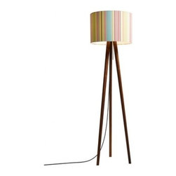 """Domus - Domus Sten Waterway Floor Lamp - The Sten Waterway Floor Lamp has been designed by Design Wiege in 2011 and is made in Germany by Domus. This version of the Sten floor lamp features the trendy and colorful Waterway lampshades that are available in two versions, Waterway Beach and Waterway Summer.  The body of the lamp is available in two types of wood finish, White Oak or Walnut. The medium lamp base is perfect for and eco-friendly Fluroescent or halogen bulb.  Product Details: The Sten Waterway Floor Lamp has been designed by Design Wiege in 2011 and is made in Germany by Domus. This version of the Sten floor lamp features the trendy and colorful Waterway lampshades that are available in two versions, Waterway Beach and Waterway Summer.  Beige tones paired with fine blue shades are reminiscent of  beautiful days on the beach (Beach); lively summer colors bring  the freshness of a flowering meadow into the house (Summer).The body of the lamp is available in two types of wood finish, White Oak or Walnut. The medium lamp base is perfect for and eco-friendly Fluroescent or halogen bulb. Details:                                     Manufacturer:                                      Domus                                                     Designer:                                     Design Wiege                                                     Made in:                                     Germany                                                     Dimensions:                                     Height: 60"""" (153 cm) X Diameter: 17"""" (44 cm)                                                     Light bulb:                                      1 X 75W E26 medium halogen or 1 X 23W E26 Fluorescent                                                     Material:                                      Wood, Fabric, Metal"""