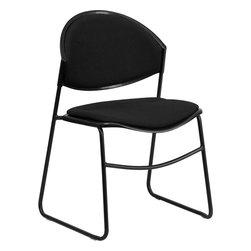 Flash Furniture - Hercules Series 550 Lb. Capacity Black Padded Stack Chair - Hercules Series 550 lb. Capacity Black Padded Stack Chair with Black Powder Coated Frame Finish