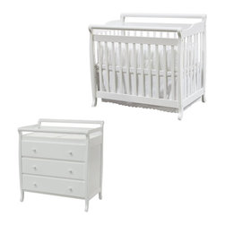 Da Vinci - DaVinci Emily Mini 2-in-1 Convertible Wood Baby Crib Set With Changing Table in - Da Vinci - Baby Crib Sets - M4798WM4755Wpkg - DaVinci Emily Mini 2-in-1 Convertible Wood Baby Crib Set With Changing Table in White