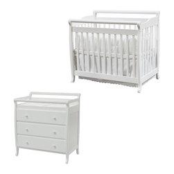 Da Vinci - DaVinci Emily Mini 2-in-1 Convertible Wood Baby Crib Set With Changing Table in - Da Vinci - Baby Crib Sets - M4798WM4755Wpkg - DaVinci Emily Mini 2-in-1 Convertible Wood Baby Crib Set With Changing Table in White