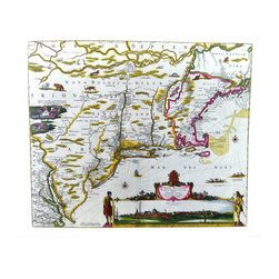 Vintage Map - MAP of NEW BELGIUM, NEW ENGLAND and VIRGINIA-