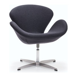 Zuo Modern - Zuo Modern Pori Arm Chair Iron Gray [Set of 2] - Arm Chair Iron Gray belongs to Pori Collection by Zuo Modern The Pori Chair takes its inspiration from modern European design and mixes it with American details such as the soft wool-like texture of the fabric and the vibrant color offerings. The base is chrome with swivel. Arm Chair (2)