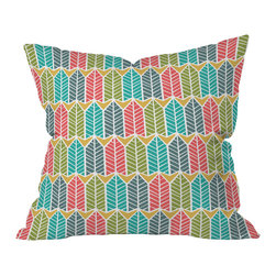 DENY Designs - Heather Dutton Arboretum Leafy Multi Throw Pillow, 26x26x7 - Whether you enjoy mixing nature references into your decor or just like simple geometric patterns, this throw pillow designed by Heather Dutton has got you covered. Its rows of pointed, retro-colored trees or feathers are just stylized enough to be modern, but would still harmonize with rustic or tribal influences in the right shades.