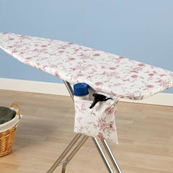 """Home Decorators Collection - Spring Meadow Ironing Board Cover and Pad - Recover your ironing board in a pink spring scenery. Our 100% cotton cover is form fitting with a tailored nose and bungee cord binding. It will easily fit over your existing ironing board. Cover includes a hidden storage pocket. Includes a thick fiber pad. Economically friendly, scorch and stain resistant and repels water and dirt due to its Nanomax™ technology. Three-year guarantee. Fits standard size 53-54""""W x 13-15""""D ironing board tops."""
