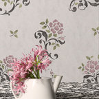 Random Roses Floral & Vine Stencil - Random Roses Floral & Vine Stencils from Royal Design Studio Stencils. Stencil a random pattern to create a wallpaper look. This design is perfect for stenciling on furniture and fabric too.