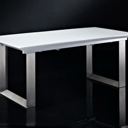 Creative Furniture - Alexia White High Gloss/ Silver Extendable Dining Table - The shining and bright high gloss top of this trendy and appealing Alexia White High Gloss/ Silver Extendable Dining Table allows the brushed steel base to show through. Providing a unique look for any dining room, this piece uses MDF, high gloss and brushed steel and includes an extension leaf to seat up to people comfortably.    Features: