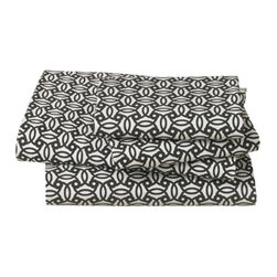 """DwellStudio - Knotted Trellis Sheet Set - Lend any bedroom some graphic punch with this stylized take on a classic weave motif. Crafted in ultra-smooth, 400 thread count cotton percale, it pairs nicely with an over-scaled botanical print for a pleasing play on scale. Full sheet set components: 1 flat sheet 92"""" x 104"""" 1 fitted sheet 54"""" x 74"""" (16"""" drop) 2 standard cases 20"""" x 26"""" Queen sheet set components: -1 flat sheet 92"""" x 104"""". -1 fitted sheet 60"""" x 80"""" (16"""" drop). -2 standard cases 20"""" x 26"""". King sheet set components: -1 flat sheet 108"""" x 104"""". -1 fitted sheet 78"""" x 80"""" (16"""" drop). -2 king cases 20"""" x 36"""". Features: -Color: Ink. -Crafted in ultra-smooth, 400 thread count cotton percale. -Lend any bedroom some graphic punch with this stylized take on classic weave motif. -Pairs nicely with over-scaled botanical print for pleasing play on scale. -Machine wash separately in cold water. -Do not use bleach or detergents containing bleach. -Tumble dry low. -Warm iron if necessary."""
