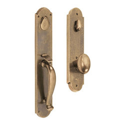River Rock Entry Handleset - Made from solid brass, this entry set has a strong, earthy feel with its egg-shaped knob and tubular grip. Simple backplates with a touch of end detail complete the look.
