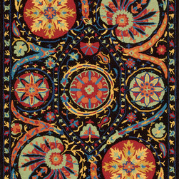 """Nourison - Suzani Oriental Black Medallion 8' x 10'6"""" Nourison Rug by RugLots - A spectacular effect is created by bold orbs of fascinating floral shapes in bright colors that bloom on a field of dreamy midnight black. Movement and life are expressed in the details of this unique and exceptional design. The handmade texture of its cut and loop pile adds another visual dimension and a charming folk-art appeal."""