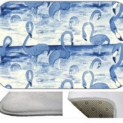 Flamingo Blue Plush Bath Mat, 20X15 - Bath mats from my original art and designs. Super soft plush fabric with a non skid backing. Eco friendly water base dyes that will not fade or alter the texture of the fabric. Washable 100 % polyester and mold resistant. Great for the bath room or anywhere in the home. At 1/2 inch thick our mats are softer and more plush than the typical comfort mats.Your toes will love you.